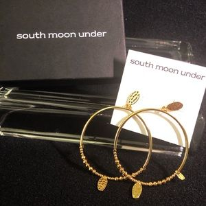 South Moon Under Dangle Hoop Earrings Hammered